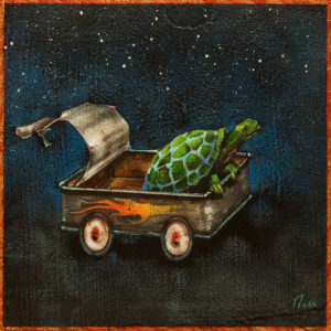 "SOLD ""Night Rider,"" by Angie Rees 8 x 8 - acrylic $425 (panel with 1 1/2"" edging)"