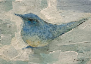 "SOLD ""Ornamental Bluebird,"" by Susan Flaig 5 x 7 - acrylic/graphite $350 Unframed $500 in show frame"