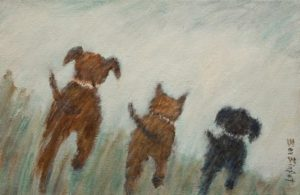 "SOLD ""Our Morning Run,"" by Bev Binfet 8 x 12 - acrylic $425 Unframed $530 in show frame"