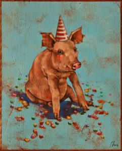 "SOLD ""Pork and Jelly Beans,"" by Angie Rees 8 x 10 - acrylic $575 (panel with 1 1/2"" edging)"
