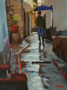 "SOLD ""A Rainy Day in Capri,"" by Mike Svob 9 x 12 - acrylic $795 Unframed $1020 in show frame"