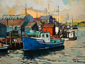 "SOLD ""Ready for the Day, Halifax,"" by Min Ma 9 x 12 - acrylic $980 Unframed $1240 in show frame"