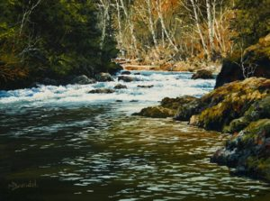 "SOLD ""Restless Water,"" by Merv Brandel 9 x 12 - oil $1025 Unframed $1300 in show frame"