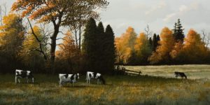 "SOLD ""September Grazing,"" by Bill Saunders 8 x 16 - acrylic $800 Unframed $1040 in show frame"