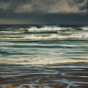 "SOLD ""Storm Surge (Study),"" by Renato Muccillo 6 x 6 - oil $1400 in show frame"