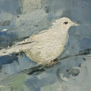 "SOLD ""Textured Snowbird,"" by Susan Flaig 6 x 6 - acrylic/graphite $350 Unframed $520 in show frame"