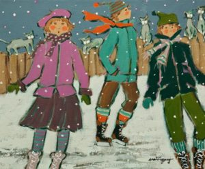 "SOLD ""Trio sur la patinoire,"" by Claudette Castonguay 10 x 12 - acrylic $370 Unframed $460 in show frame"
