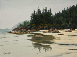 "SOLD ""West Shore Bay,"" by Merv Brandel 9 x 12 - oil $1025 Unframed $1300 in show frame"