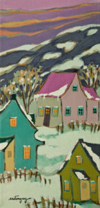 "SOLD ""A Winter Afternoon,"" by Claudette Castonguay 6 x 12 - acrylic $280 Unframed $370 in show frame"