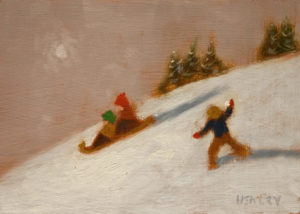 "SOLD ""Winter Surprise,"" by Paul Healey 5 x 7 - oil $275 Unframed $450 in show frame"