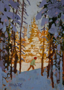 "SOLD ""Winter Trail,"" by Paul Healey 5 x 7 - acrylic $275 Unframed $450 in show frame"