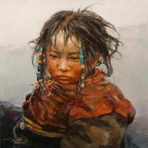 "SOLD ""Zhuma,"" by Donna Zhang 12 x 12 - oil $1220 Unframed $1400 in show frame"