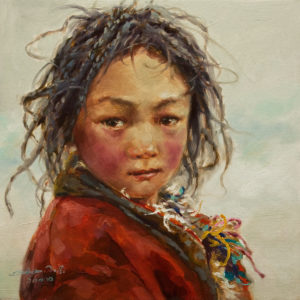 "SOLD ""Zhuma in Red,"" by Donna Zhang 12 x 12 - oil $1220 Unframed $1400 in show frame"