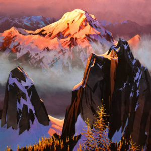 "SOLD ""The Glow of Mt. Biddle – The Ascent of the Tamaracks,"" by Michael O'Toole 36 x 36 – acrylic $4925 Unframed"