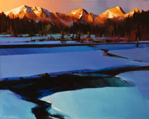 "SOLD ""Last Breaklight on Kananaskis,"" by Michael O'Toole 16 x 20 – acrylic $1475 Unframed"