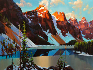 "SOLD ""Morning Breaklight, Moraine Lake,"" by Michael O'Toole 30 x 40 – acrylic $4600 Unframed"