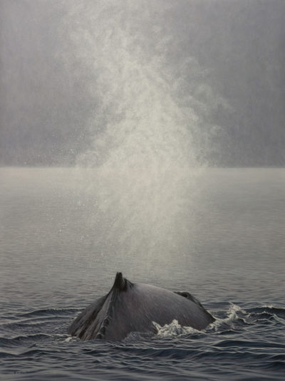 "SOLD ""Above and Beyond - Humpback Whale"" by W. Allan Hancock 36 x 48 - acrylic $6950 in show frame $6000 Unframed"
