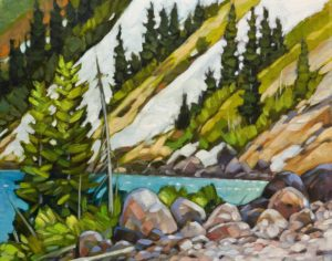 "SOLD ""Alpine Lake,"" by Graeme Shaw 11 x 14 – oil $700 Unframed"