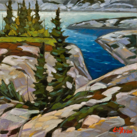 "SOLD ""Back Bay - Great Slave Lake,"" by Graeme Shaw 12 x 12 - oil $900 in show frame $650 Unframed"