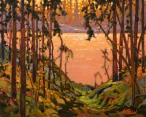 "SOLD ""Bush Lake Patterns,"" by Graeme Shaw 16 x 20 – oil $1540 in show frame $1215 Unframed"