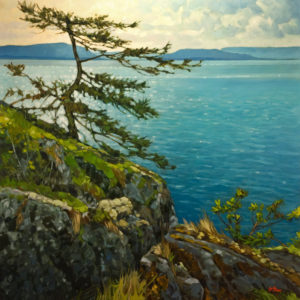 "SOLD ""Gulf Watcher,"" by Graeme Shaw 48 x 48 - oil $6600 as thick canvas wrap without frame"