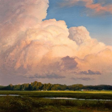 "SOLD ""Illuminated Thunderhead - Study,"" by Renato Muccillo 6 x 6 - oil $1400 in show frame"