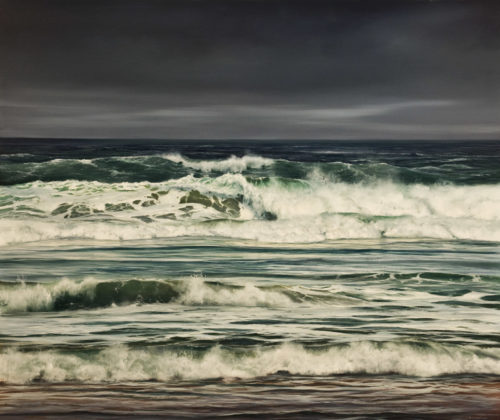 "SOLD ""Incoming Tide - Cannon Beach,"" by Renato Muccillo 37 x 44 - oil $13,400 in show frame"