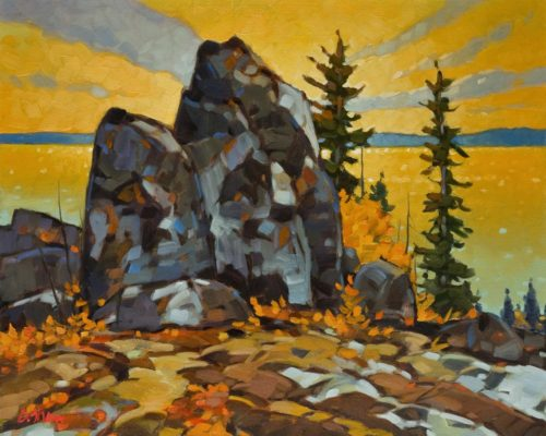 "SOLD ""McKay Lake Sundown, N.W.T.,"" by Graeme Shaw 16 x 20 - oil $1540 in show frame $1215 Unframed"