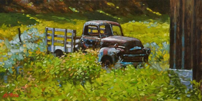 "SOLD ""Out to Pasture,"" by Graeme Shaw 12 x 24 - oil $1400 in show frame $1065 Unframed"