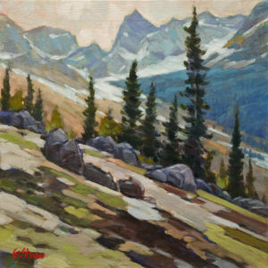 "SOLD ""Rockies Slope,"" by Graeme Shaw 12 x 12 – oil $650 Unframed"