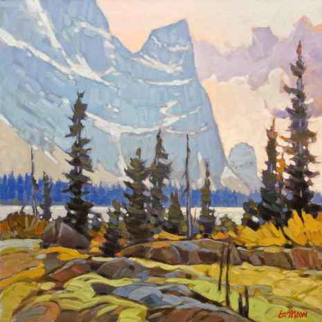 "SOLD ""Smokey Shores - Kananaskis Country,"" by Graeme Shaw 20 x 20 - oil $1730 in show frame $1350 Unframed"
