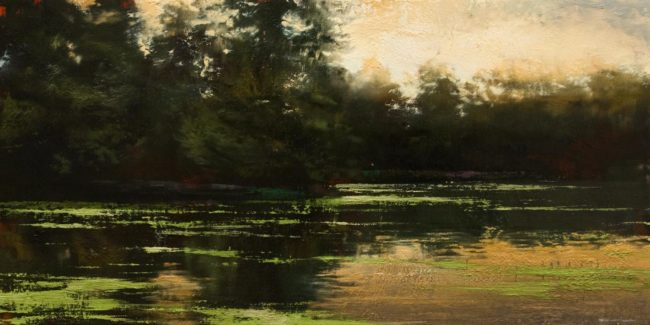 "SOLD ""Deconstructed Landscape Series: Stagnant Water No. 2"" by Renato Muccillo 12 x 24 - oil $2400 in show frame"