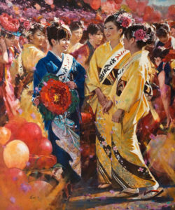 """Festival Time,"" by Clement Kwan 40 x 48 - oil $13,400 (thick canvas wrap without frame)"