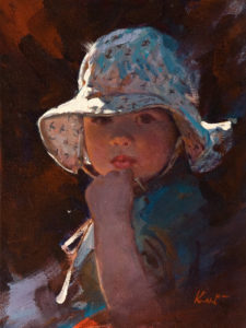 "SOLD ""I Like My Hat,"" by Clement Kwan 9 x 12 - oil $1650 Unframed"