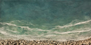 "SOLD ""West Coast No. 174,"" by Brenda Walker 24 x 48 – encaustic and mixed media $2400 (panel with 1 1/2"" edges)"