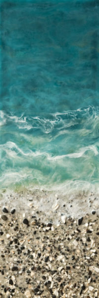"""West Coast No. 210,"" by Brenda Walker 12 x 36 - encaustic and mixed media $1250 (panel with 1 1/2"" edges)"