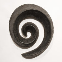 "SOLD Black Spiral (LR-247) by Laurie Rolland hand-built ceramic - 9"" (L) x 8"" (W) x 2"" (H) $200"