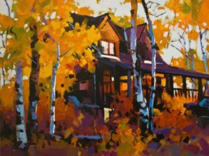 "SOLD ""Aspen Ranch House, Green Lake, B.C."" 12 x 16 - acrylic $1345 Unframed $1615 in show frame"