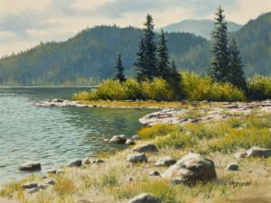 "SOLD ""Battleship Lake"" by Merv Brandel 9 x 12 - oil $1025 Unframed $1225 in show frame"