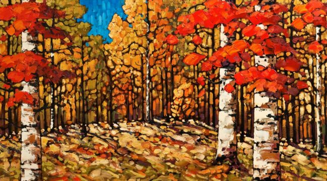"SOLD ""Birchwood Autumn,"" by Rod Charlesworth 20 x 36 - oil $2950 Unframed (Framing is available)"
