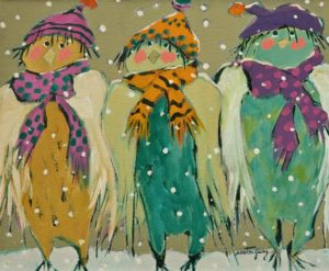 "SOLD ""The Birds of the North"" by Claudette Castonguay 10 x 12 – acrylic $390 Unframed"