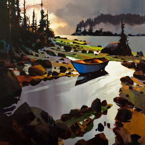 "SOLD ""Blue Boat Rivers Inlet,"" by Michael O'Toole 36 x 36 - acrylic $4925 Unframed"
