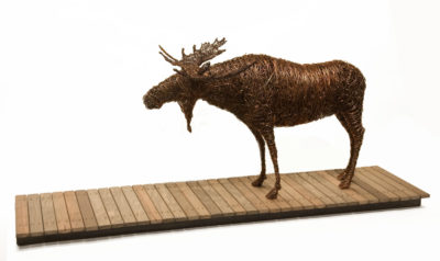 """Boardwalk,"" by Janis Woode wrapped copper wire, wood - 11 1/2"" (H) x 27"" (L) x 7"" (W) $3500"