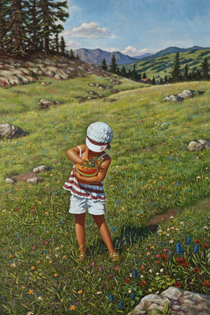 """Checking the Flowers,"" by Don Li 16 x 24 - oil $3400 Unframed"