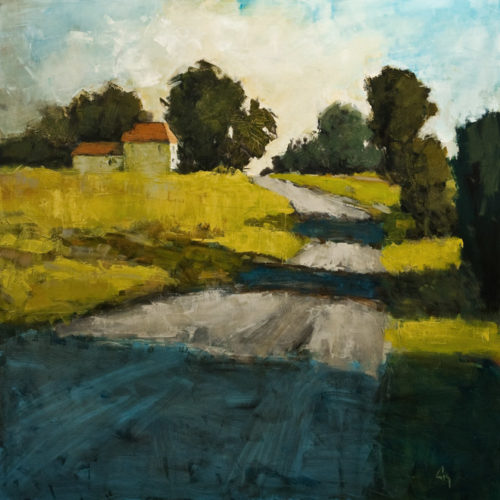 """Chemin Gendron No. 3,"" by Robert P. Roy 48 x 48 - acrylic $3300 (thick canvas wrap without frame)"