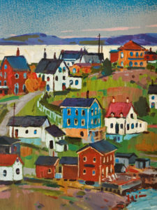 "SOLD ""Colours of the Village, Nova Scotia"" by Min Ma 6 x 8 - acrylic $650 Unframed $840 in show frame"
