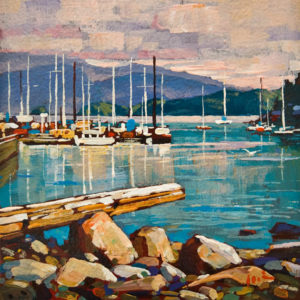 "SOLD ""Deep Cove, North Vancouver"" by Min Ma 6 x 6 - acrylic $600 Unframed $785 in show frame"