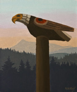 "SOLD ""Eagle Totem"" by Ken Kirkby 10 x 12 - oil $600 Unframed $715 in show frame"