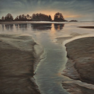 "SOLD ""Edge of Night, Pacific Rim,"" by Ray Ward 12 x 12 – oil $1200 Unframed"