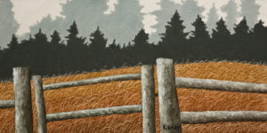 """Farm Gate"" by Ken Kirkby 8 x 16 - oil $640 Unframed"